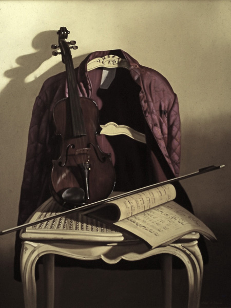 Le violon - huile sur toile