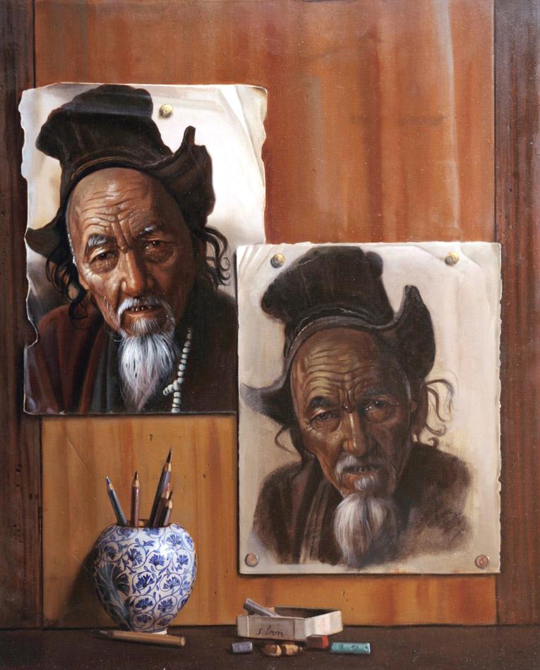 Le vieux Chinois : 61 x 50 cm