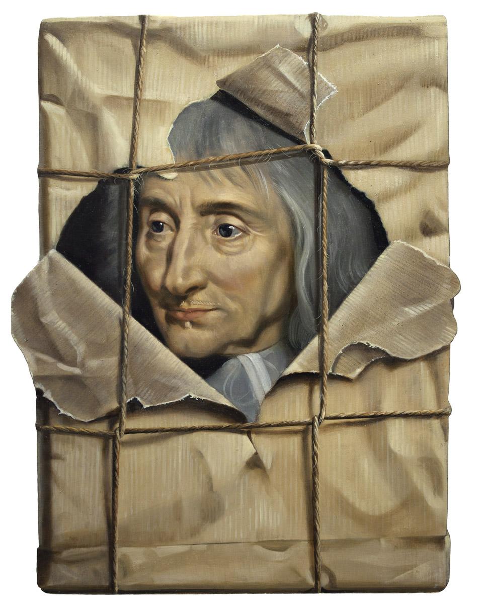 Le paquet déchiré - huile sur bois - 42 x 34 cm