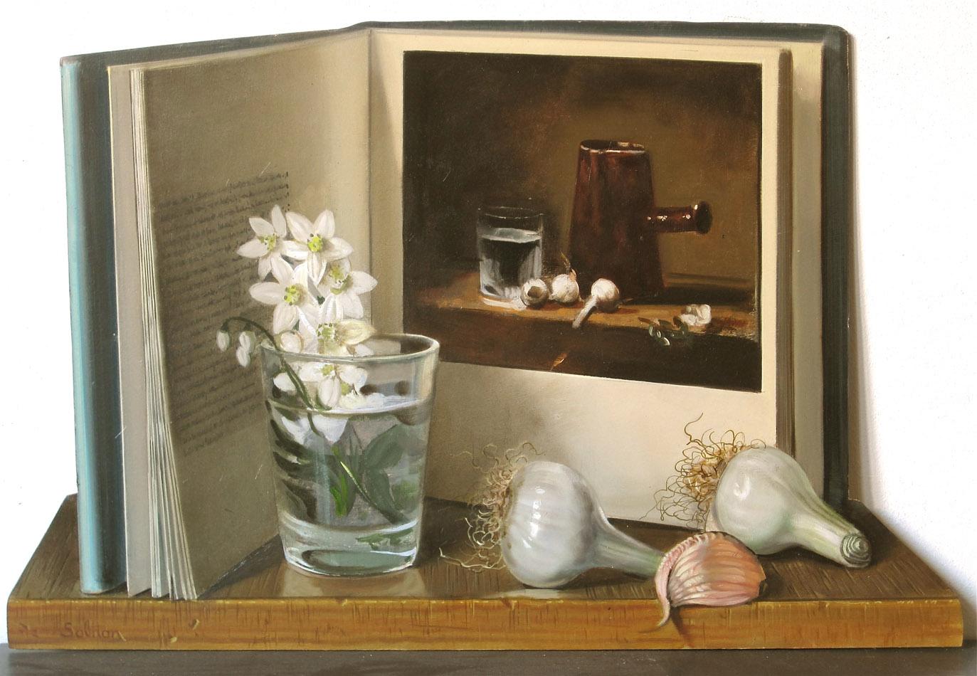 Ail et oignon - huile sur toile - 43 x 38 cm