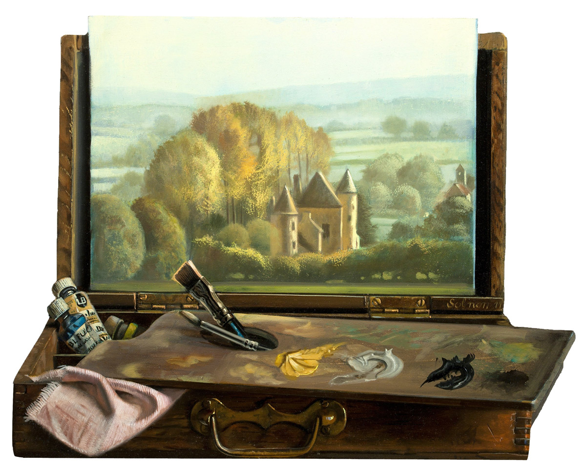 Le château d'Anizy - huile sur bois, 46 x 42 cm