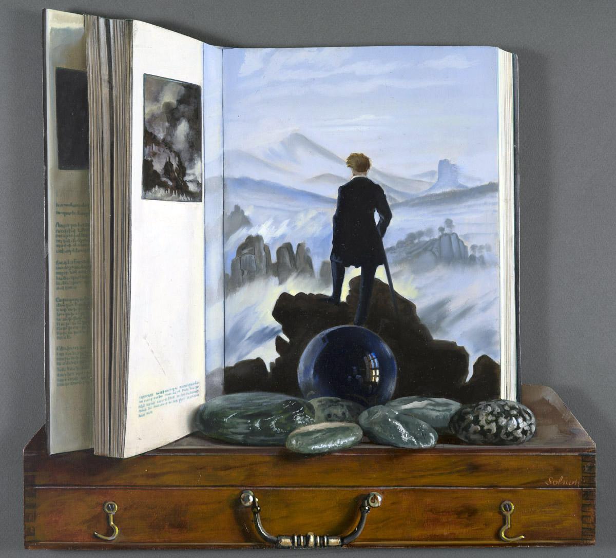 Hommage à David Friedrich - huile sur bois, 45 x 45 cm