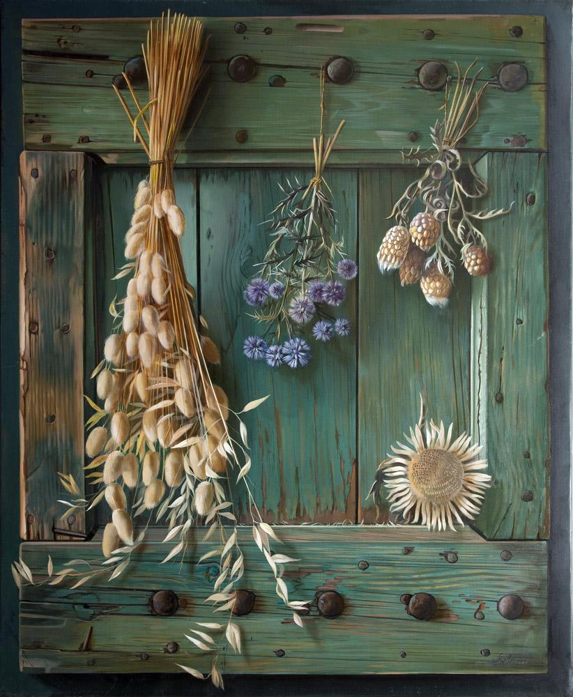 Fleurs séchées - huile sur toile - 73 x 60 cm