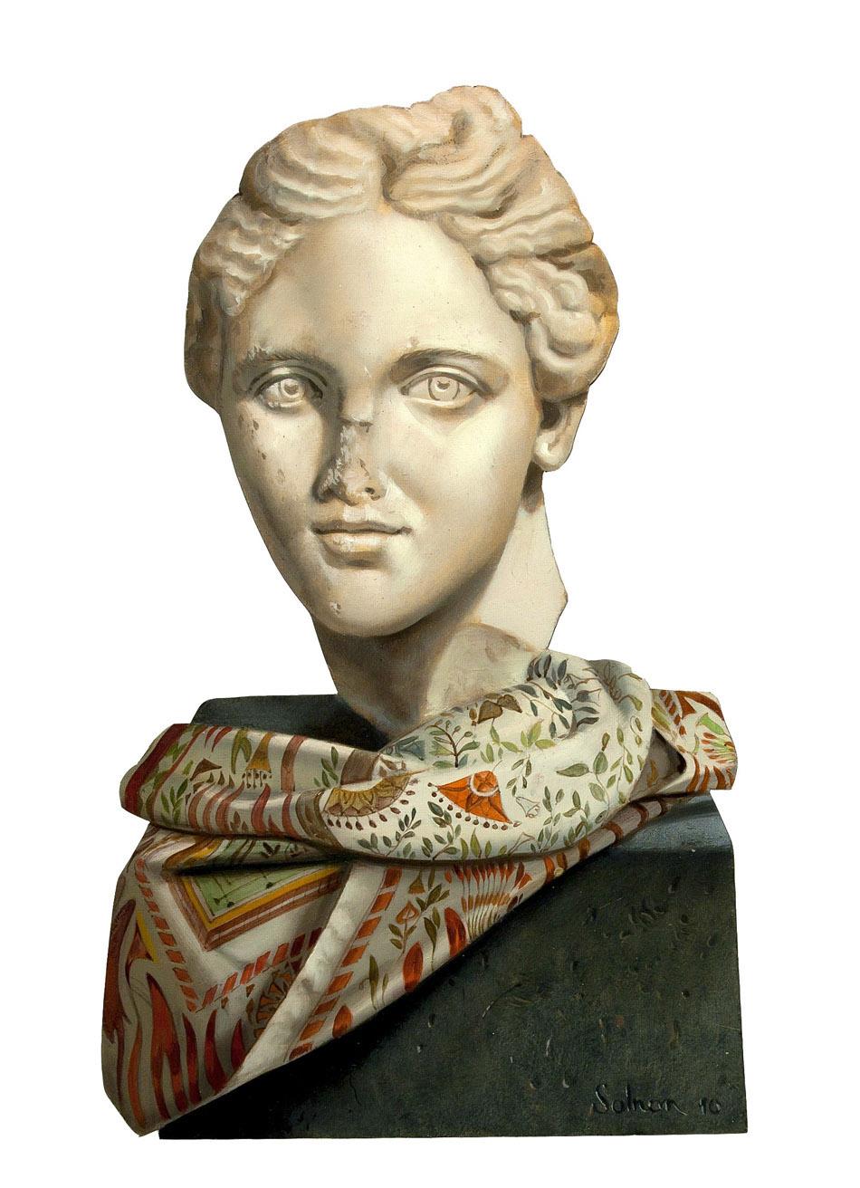 Le foulard oublié - huile sur bois, 39 x 23 cm