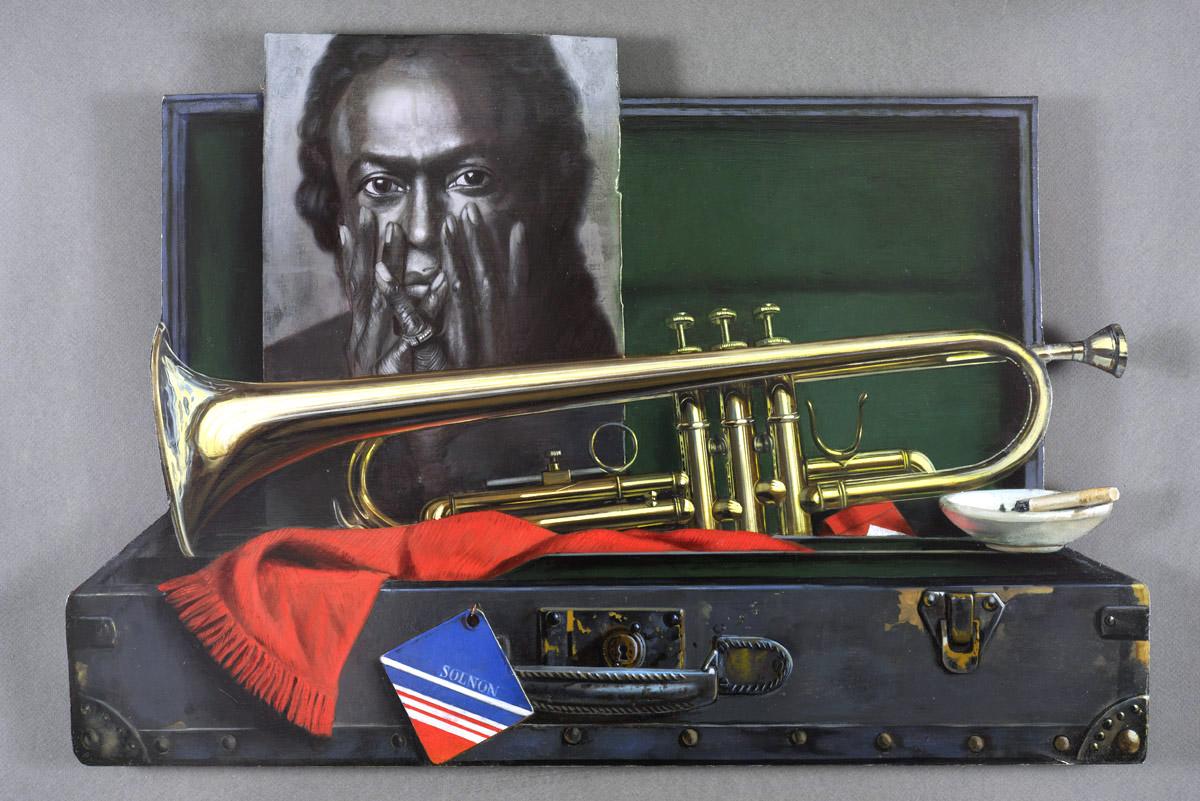 Miles Davis - huile sur bois - 63 x 56 cm