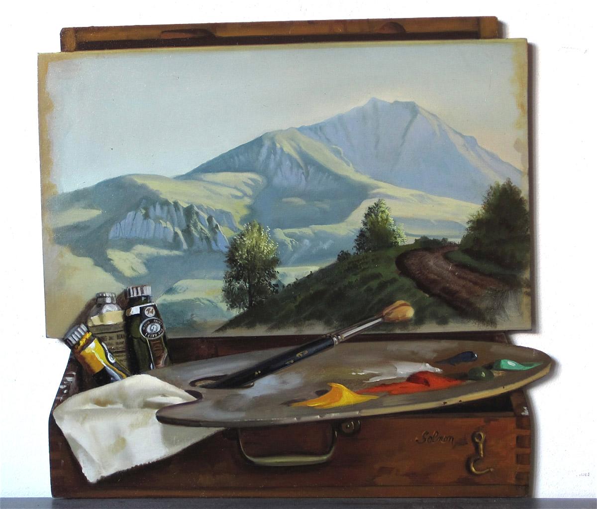 Montagne - huile sur bois