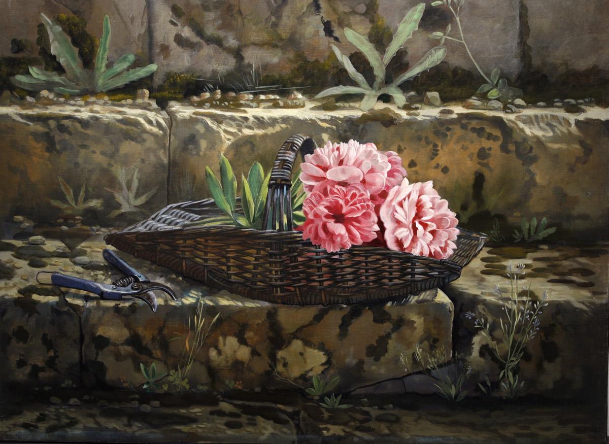 Panier de fleurs coupées - huile sur toile