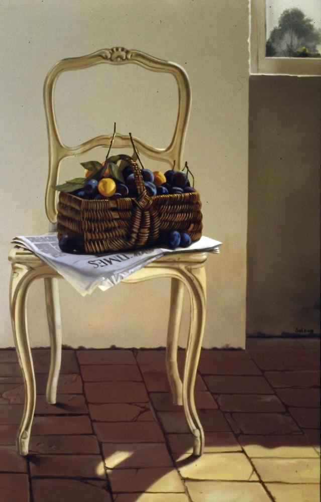 Le panier de prunes - huile sur toile