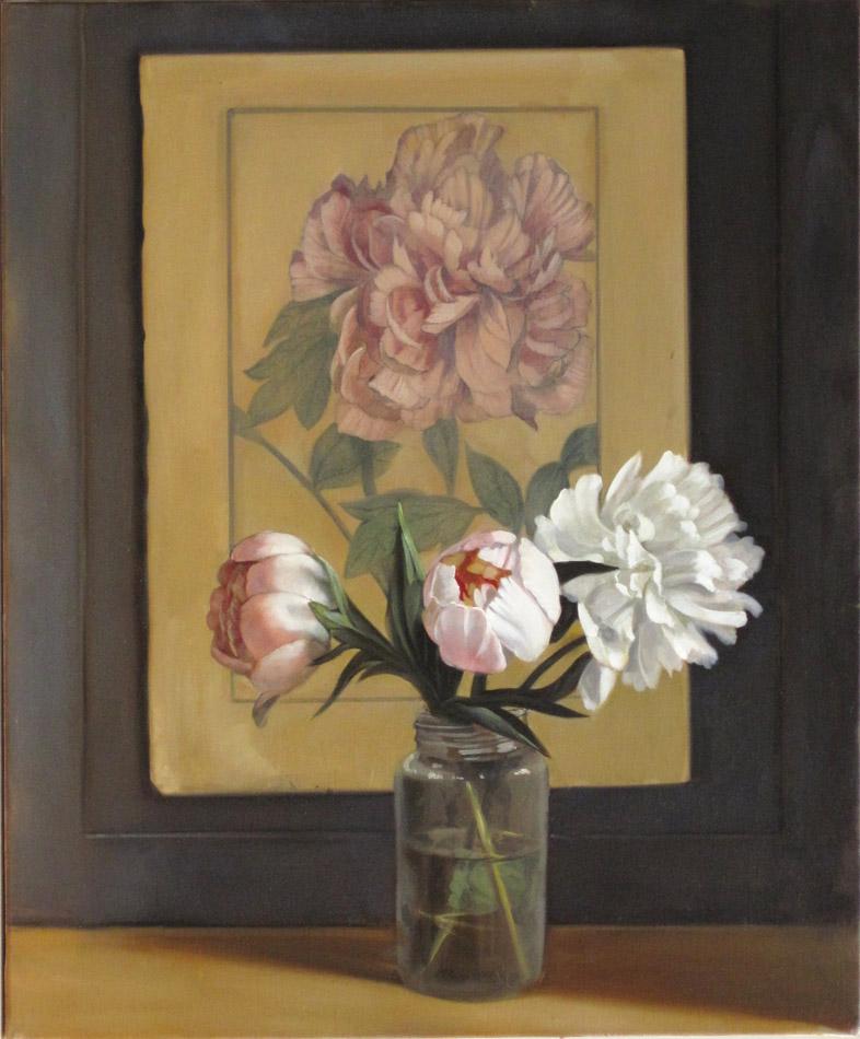 Pivoines et gravure - huile sur toile - 41 x 33 cm