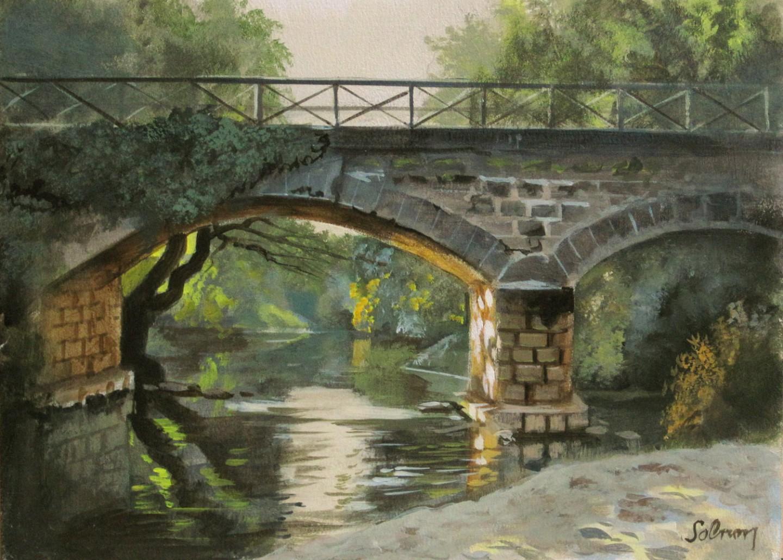 Pont sur l'Alène - huile sur panneau, 22 x 16 cm
