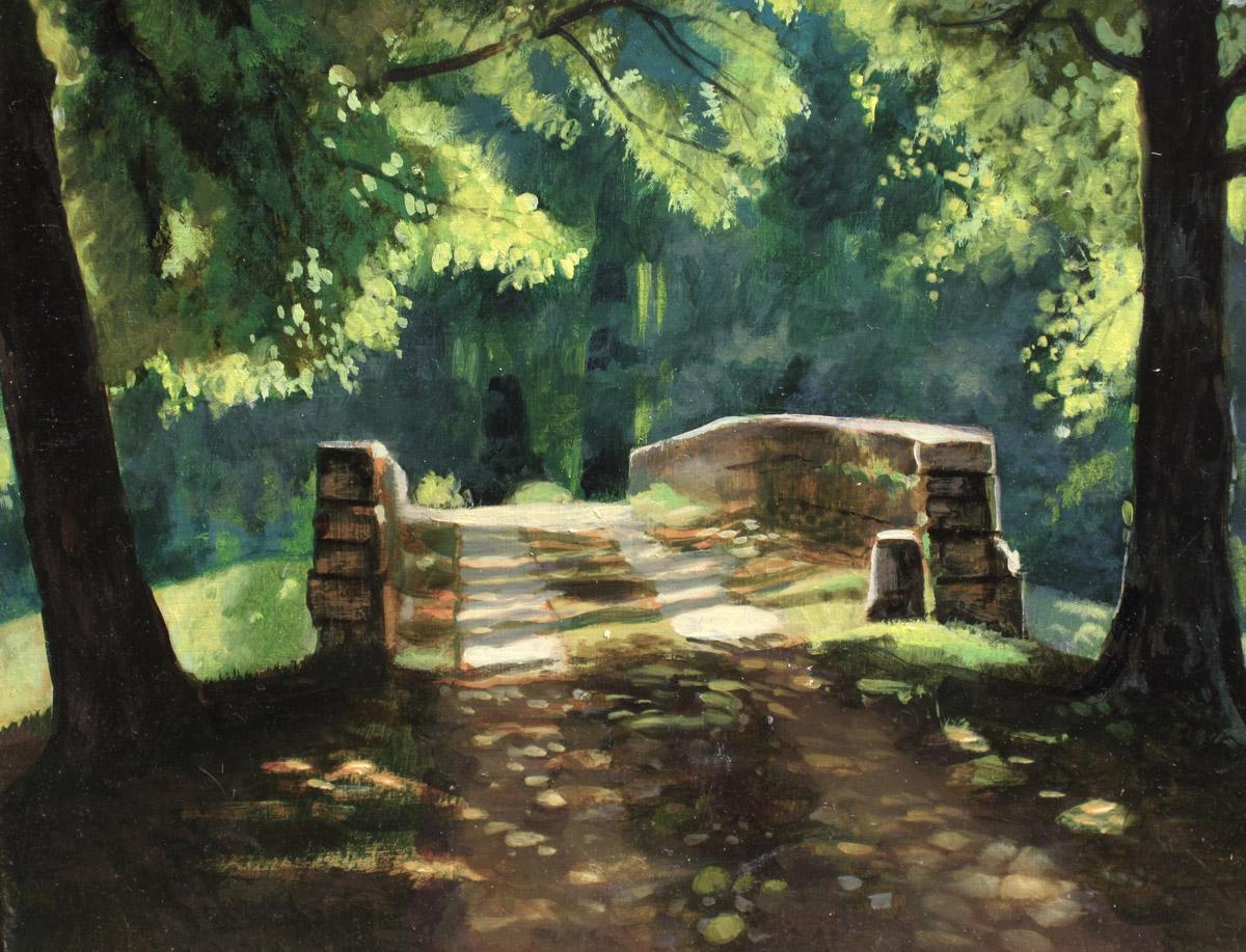 Le pont sur le canal - huile sur panneau, 22 x 16 cm