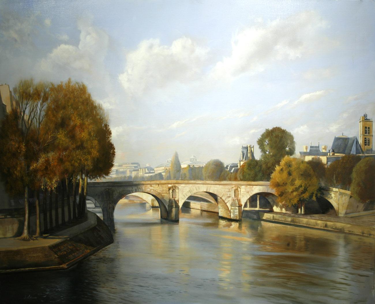 Le pont Marie - huile sur toile, 100 x 81 cm