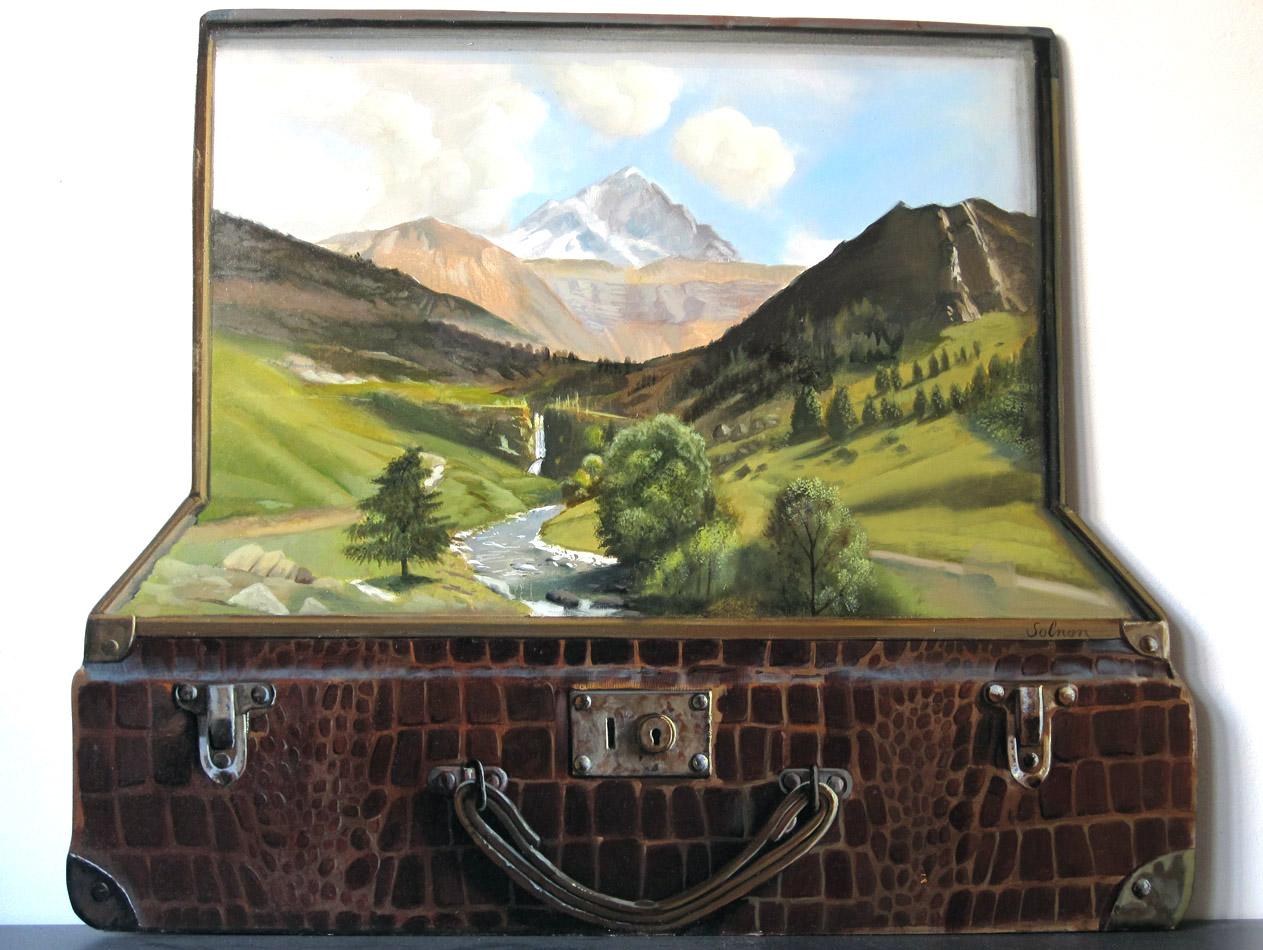 La valise - huile sur bois, 54 x 44 cm