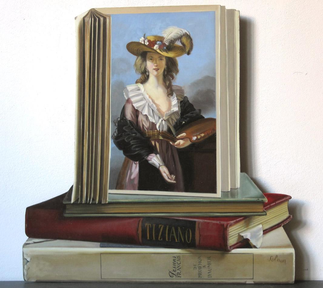 Hommage à Elisabeth Vigée-Lebrun - huile sur bois, 37 x 37 cm